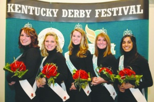 Senior Meghan Lampe (second from left) and sophomore Sydney Crawley (second from right) will have many duties to fulfill as Derby Princesses.